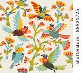 flowers and birds   Shutterstock .eps vector #88931725