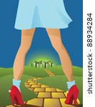 Yellow Brick Road Dorothy on the road to the emerald city. EPS 8 vector, grouped for easy editing. - stock vector