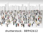 Big group of people on the city | Shutterstock vector #88942612