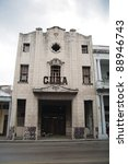 "Derelict Art Deco cinema in Havana, ""Cuba"" - stock photo"