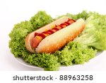 hot dog over lettuce. photography - stock photo