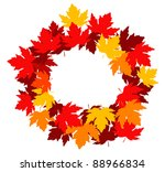 Autumnal falling leaves frame for seasonal design. Vector version also available in gallery - stock photo