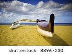 purple outrigger canoe on sandy ...