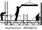 silhouettes of men working - stock vector