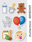 baby boy elements | Shutterstock .eps vector #88980409