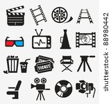 movie icon set | Shutterstock .eps vector #88980442