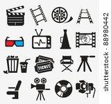 movie icon set | Shutterstock .eps vector #88980442