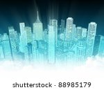 finance district at night | Shutterstock . vector #88985179