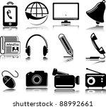set of multimedia icons   Shutterstock .eps vector #88992661