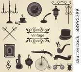 set of vintage objects  vector | Shutterstock .eps vector #88992799