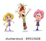 three happy girl friends on... | Shutterstock .eps vector #89015608