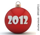 Red Christmas sphere with an inscription 2012 - stock photo