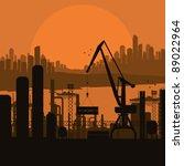 Industrial factory landscape background illustration - stock vector
