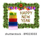 christmas card with a christmas ... | Shutterstock . vector #89023033