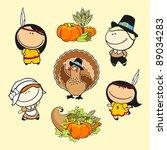 funny kids  59   thanksgiving...   Shutterstock .eps vector #89034283