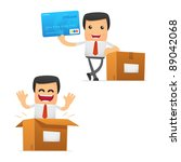 set of funny cartoon manager in ... | Shutterstock .eps vector #89042068