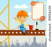 Builder worker steeplejack greeting on high construction. Vector illustration. - stock vector