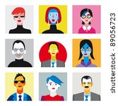 nine faces of businessmen and... | Shutterstock .eps vector #89056723
