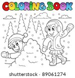 coloring book winter theme 2  ... | Shutterstock .eps vector #89061274