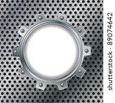 cogwheel on dotted metal plate... | Shutterstock .eps vector #89074642