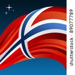Norway flag illustration fluttering over blue background. Vector file available. - stock vector