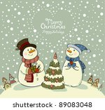 Loving Couple Of Snowmen With...