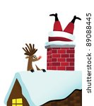 reindeer sees santa stuck in... | Shutterstock .eps vector #89088445