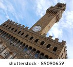 High part of Palazzo Vecchio, Florence, Italy - stock photo