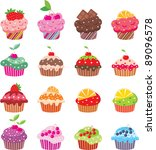 Cupcakes. Vector  Color Full ...
