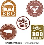 vintage style bbq stamps | Shutterstock .eps vector #89101342