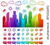 colorful city with social media ... | Shutterstock .eps vector #89102692