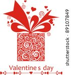 present gift box with hearts.... | Shutterstock .eps vector #89107849