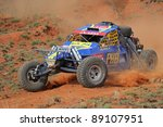BLOEMFONTEIN, SOUTH AFRICA - OCTOBER 15: Marius and Jolinda Fourie in their BAT in action during a South African off road championship event in Bloemfontein, South Africa on October 15, 2011 - stock photo