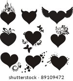doodles hearts set isolated on...