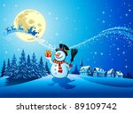 snowman with the gift in... | Shutterstock .eps vector #89109742