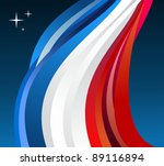 France flag illustration fluttering on blue background. - stock photo