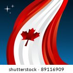 Canada flag illustration fluttering on blue background. - stock photo