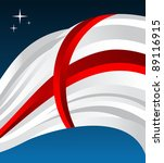 England flag illustration fluttering on blue background. - stock photo
