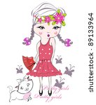 fashion kid girl in  dress with ... | Shutterstock .eps vector #89133964