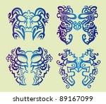 set of tribal floral masks
