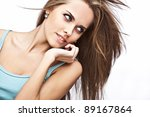 beautiful young model in casual ... | Shutterstock . vector #89167864