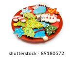 Plate Of Iced Christmas Cookies