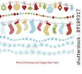 greeting christmas card | Shutterstock .eps vector #89189317