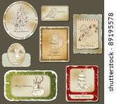 vintage christmas label  and... | Shutterstock .eps vector #89195578