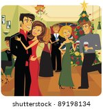 a cheerful christmas party ... | Shutterstock .eps vector #89198134