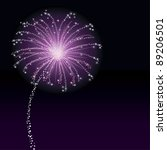 A Purple Firework In  Black Sky