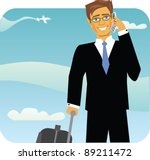 A Business Man Traveling In An...