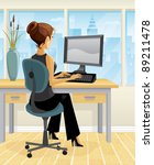 a brunette woman works at a... | Shutterstock .eps vector #89211478