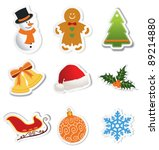 christmas icon on stickers.... | Shutterstock .eps vector #89214880