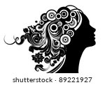 girl with floral hair | Shutterstock .eps vector #89221927